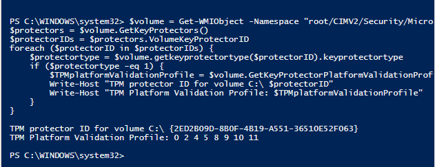 Get the BitLocker TPM Platform Validation Profile in Windows 7 (and