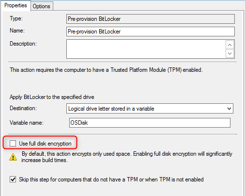 Pre-provision BitLocker fails with Invalid command line argument